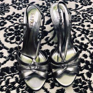 Ralph Lauren Silver Strappy Sandal Heels, Sz 8